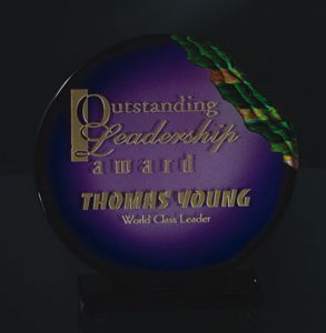 Etched and Violet Color Filled Art Glass Award