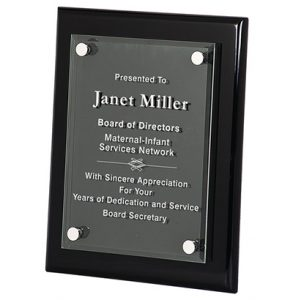 Ebony Finish Plaque with Acrylic and Standoffs