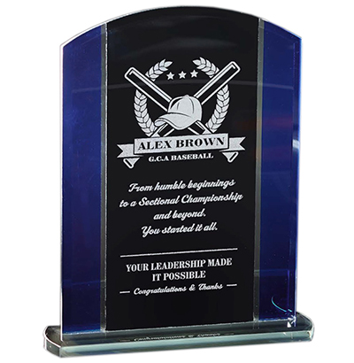 Economy Glass Black and Blue Glass Standing Award