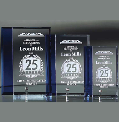 Flat Glass Standing Award with Blue Accent