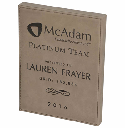 Light Brown Leatherette Plaque with Lasered or Full Color Imprint