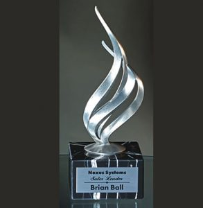 Silver Flame on Black Marble Base